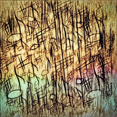 old grunge musical notes background and texture