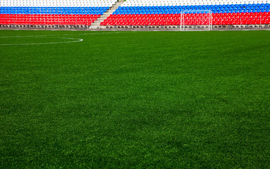 football field with stands