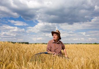 Working in barley field