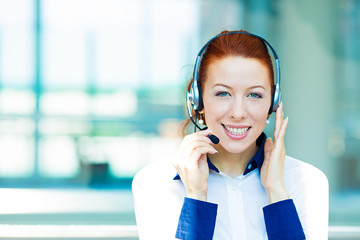 Headshot smiling female customer service representative