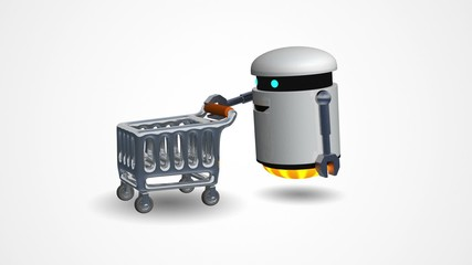 Little robot pushing a shopping cart