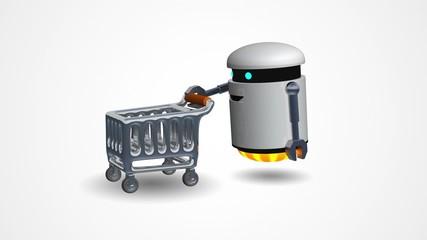 Little robot pushing a shopping cart