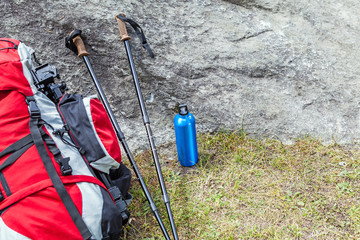Hiking adventure equipment in mountains