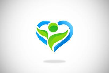 love heart green eco vector