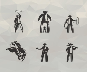 Cowboy icons. Vector format