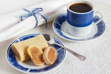 Bolo de rolo (swiss roll, roll cake) typical Brazilian dessert