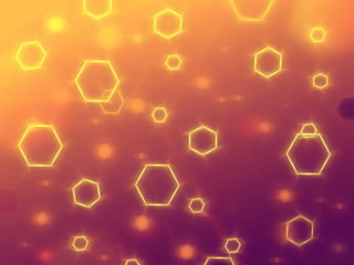 abstract yellow violet hexagons background