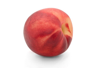 Red peach isolated on white