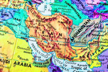 Iran Globe Map Close-Up