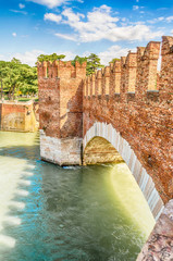 Scaliger Bridge (Castelvecchio Bridge) in Verona, Italy