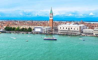 Campanile and Doge's palace on Saint Marco square, Venice, Italy
