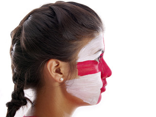 girl with english flag face painting