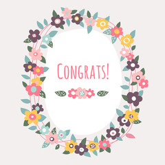 Cute vector flower wreath congratulation