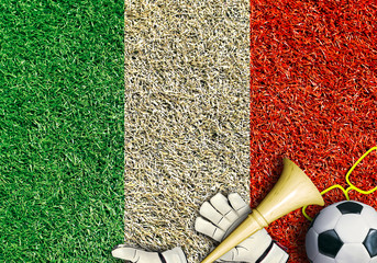 Italy, the flag on the texture of the grass
