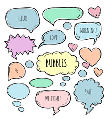 Vector hand drawn set of sketch speech bubbles clouds rounds