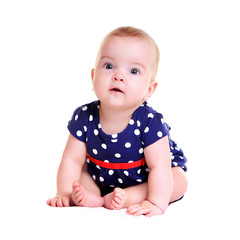 baby girl wearing playsuit on white backgroundt