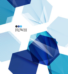 Bright blue geometric modern design template