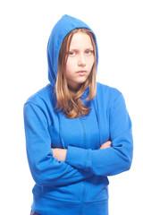 Angry teen girl in poor