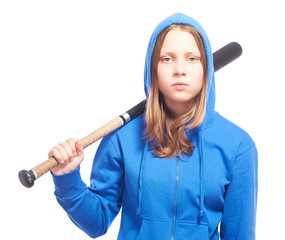 Angry teen girl in hood with baseball-bat