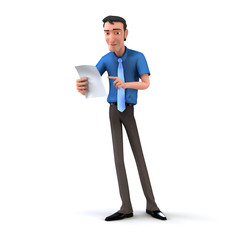 Business man checking a checklist