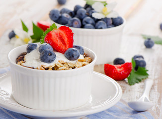 Muesli and yogurt with fresh berries.