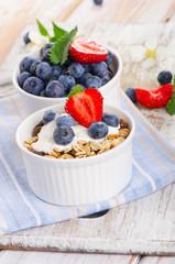 Muesli and yogurt with fresh berries.