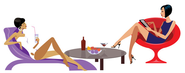 vector illustration of women on rest
