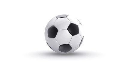 soccer ball bouncing on white background with alpha matte
