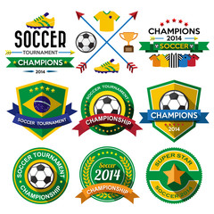 Soccer ( Football ) badge and labels.