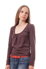 Young casual woman style isolated over white.