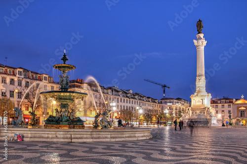 Leinwanddruck Bild Rossio Square, Lisbon, Portugal