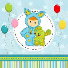 baby boy dressed as rabbit - vector illustration, eps