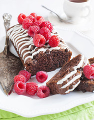 Triple chocolate loaf cake with raspberry