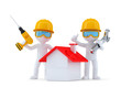 Construction Workers with home. Isolated. Clipping path