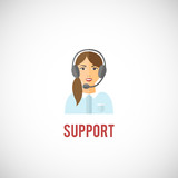 Technical support woman icon poster