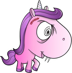 Crazy Insane Unicorn Pony Vector Illustration Art