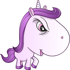 Angry Mean Unicorn Pony Vector Illustration Art