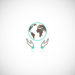 Earth hands icon
