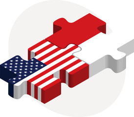 USA and Indonesia Flags in puzzle