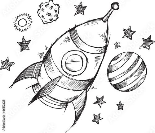 Fototapeta Rocket Space Doodle Sketch Vector