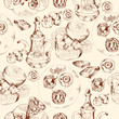 Oriental sweets seamless pattern