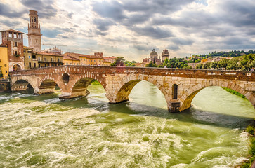 Ancient Roman Bridge called Ponte di Pietra in Verona