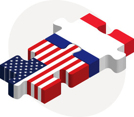 USA and France Flags in puzzle