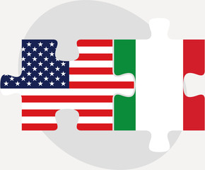 USA and Italy Flags in puzzle