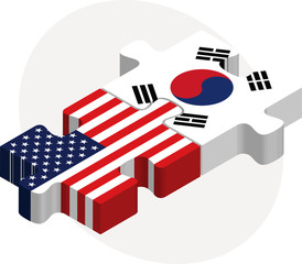 USA and South Korea Flags in puzzle