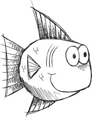 Cute Sketch Doodle Fish Vector Illustration Art
