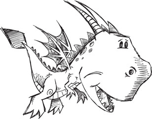 Cute Doodle Sketch Dragon Vector Illustration