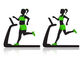woman on a treadmill resets overweight