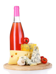 Pink wine and different kinds of cheese isolated on white
