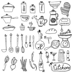 Kitchen set in vector. Stylish design elements of kitchen.